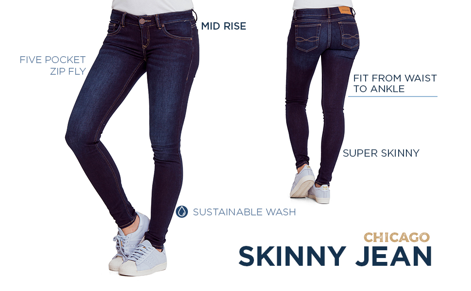 Skinny Jean Fit From Waist to Ankle Five Pocket Zip FLy Mide Rise Sustainable Wash