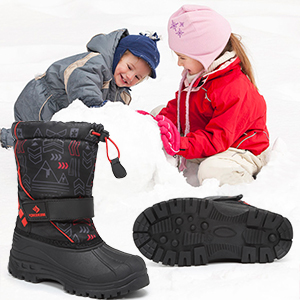 WALUCAN Boys Girls Snow Boots for Toddler Winter Outdoor Waterproof with Fur Lined Toddler//Little Kids