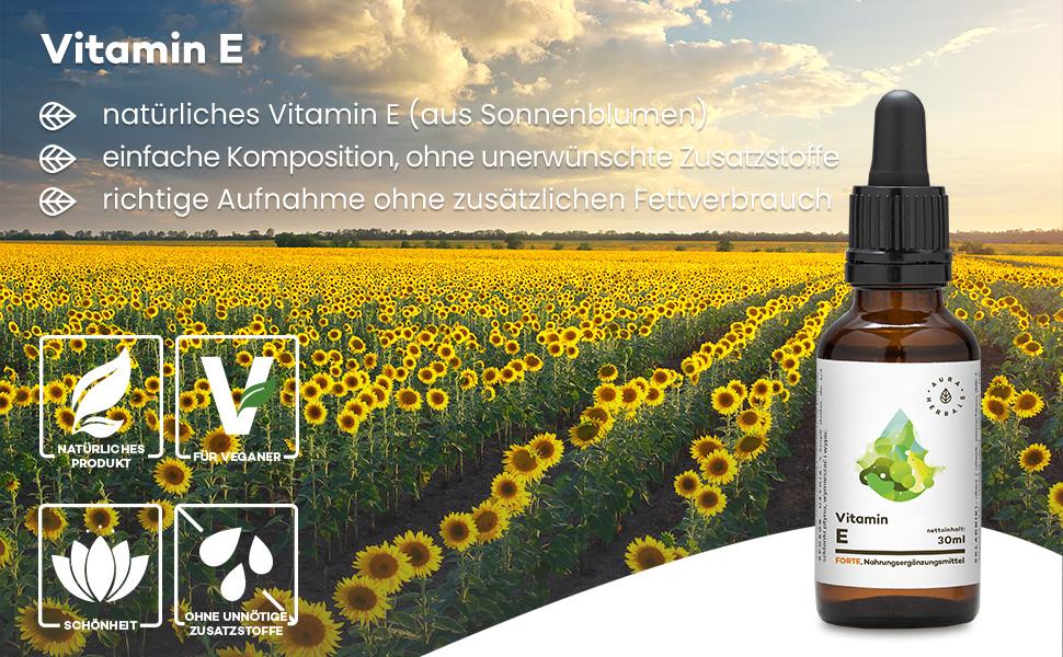 AURA HERBALS® Vitamin E Tropfen VEGAN 100/% natürlich