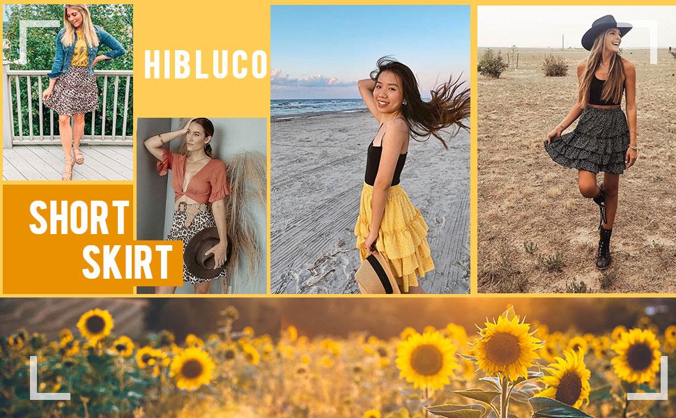 Hibluco Women's High Waist Tiered  Short Skirt Layered Casual Ruffle Skirt