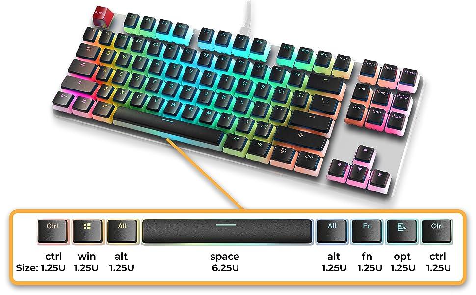 pbt gaming mechanical keyboard keycaps