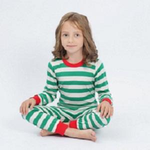 Green Striped PJs for Girls
