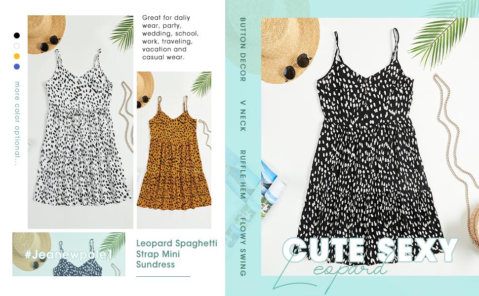 Womens Leopard Spaghetti Strap Beach Sundress Button V Neck Sleeveless Sexy Mini Dress