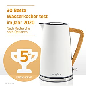 Nedis KAWK510EWT Wasserkocher | 1,7 l | Soft Touch |: Amazon