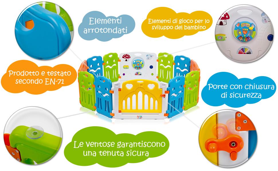COLORS XL Baby Vivo Box per Bambini Grande Sicurezza Barriera Pieghevole Cancelletto Recinto con Porta Plastica Estensibile