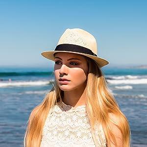 beach girl straw panama sun ocean shade fedora