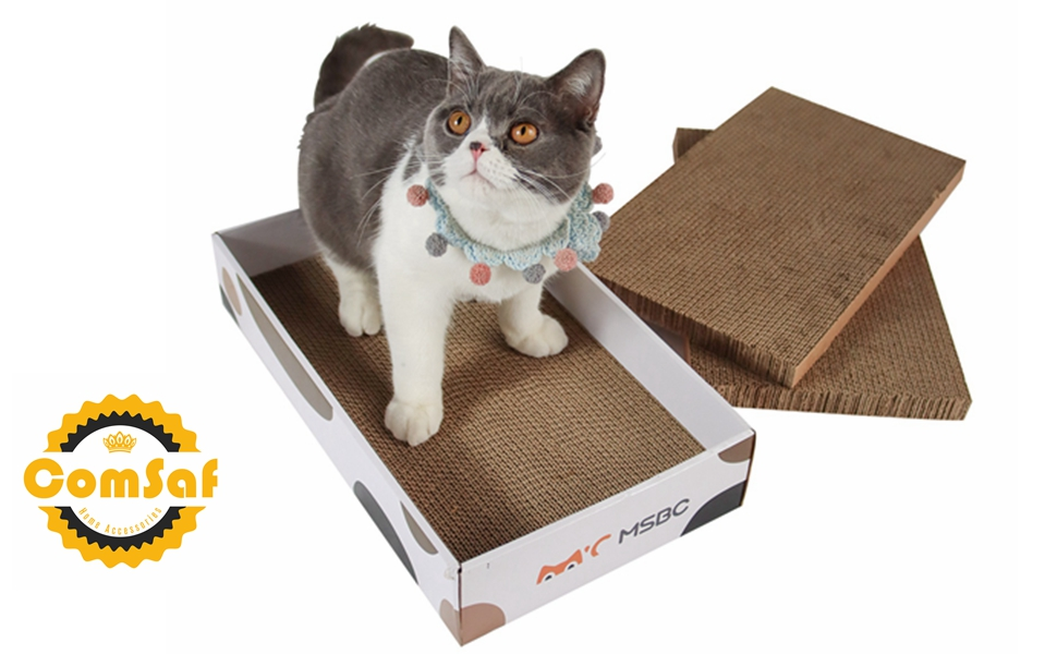 ComSaf Alfombras Rascadoras para Gatos, Rascadoras de Cartón con Hierba Gatera, Reciclar el Rascador Corrugado, Diseño Reemplazable, 3 Piezas en Una Caja: Amazon.es: Productos para mascotas