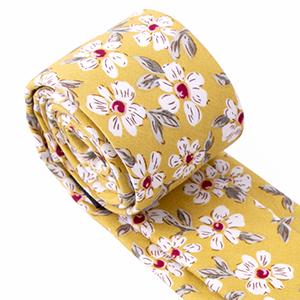 mustard, floral, skinny, neck tie, ties, spring, spring notion, men, accessories, casual, formal