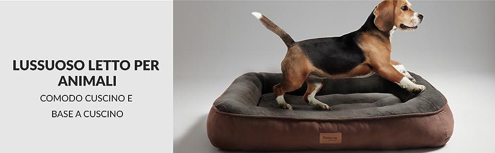 Bedsure Cuccia per Cane da Interno Taglia Media e Grande 92 x 69 x 15 cm Nero Cuscino Letto per Cane Lavabile in Lavatrice Lettino per Cani Super Morbida in Pile