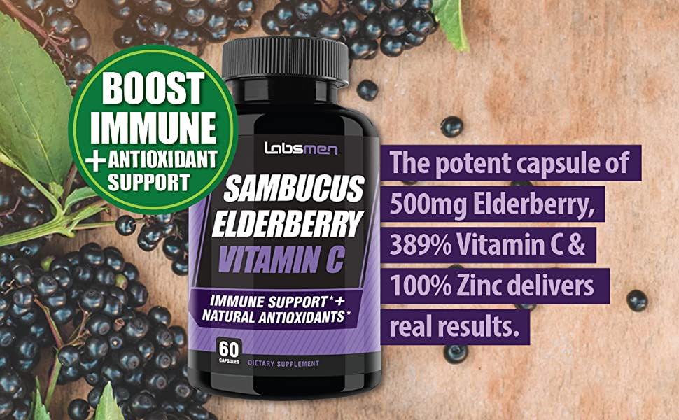 The potent capsule of 500mg Elderberry, 389% vitamin C & 100% Zinc delivers real results