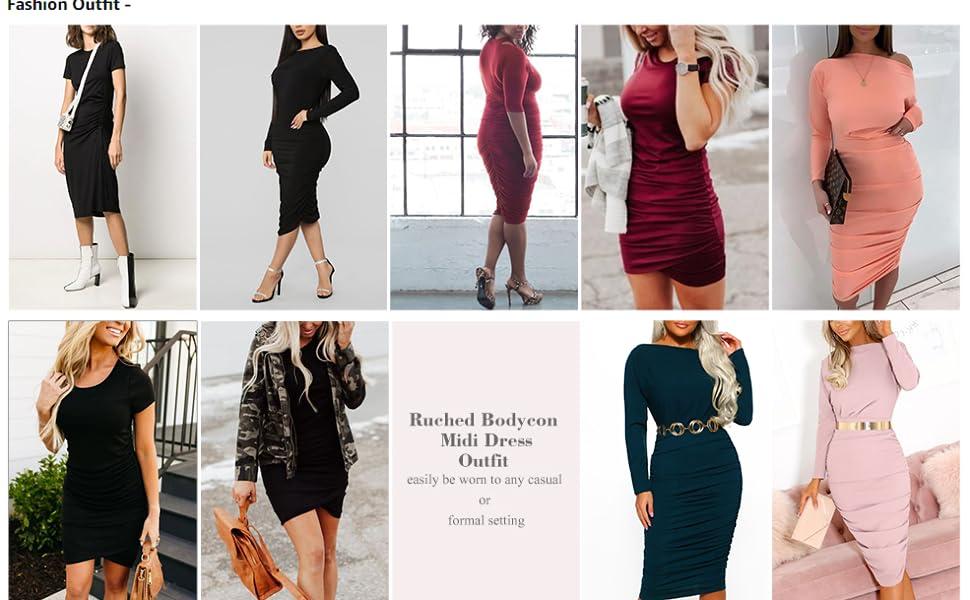 GloryStar Women Regular Plus SIze Short Long Sleeve Ruched Midi Bodycon Sheath Pencil T Shirt Dress