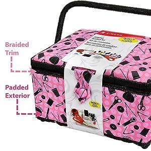 singer pink sewing basket
