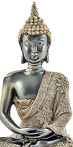 Buddha Statue Meditating Seated Buddha Statue Carving Figurine Home Garden Patio Deck Porch Yard Art