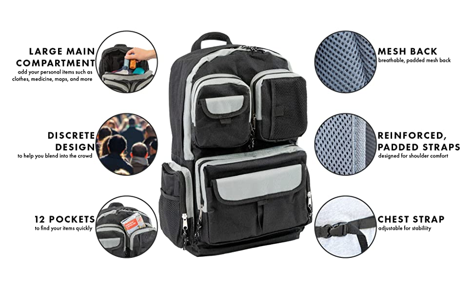 discrete design large compartment pockets mesh padded reinforced chest strap emergency supplies BOB