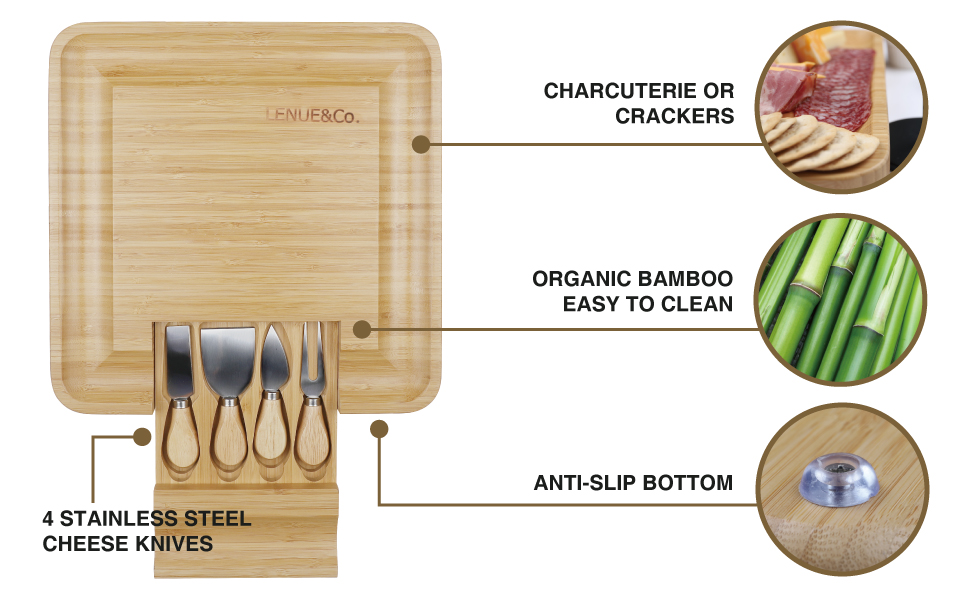 A photo of our cheese cutting board wood serving platter