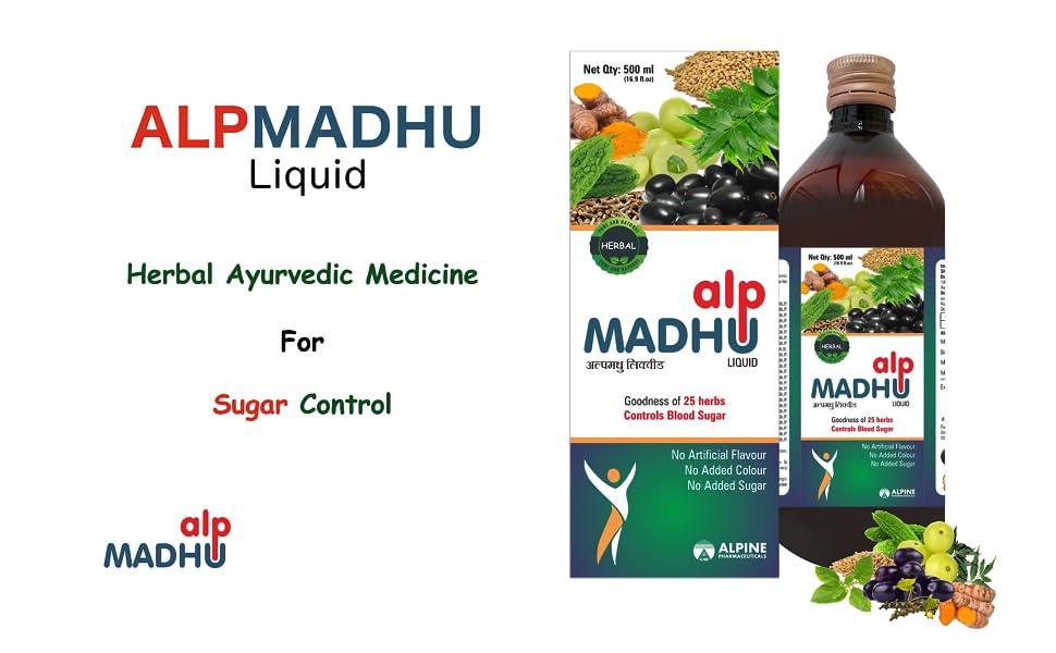 Alpine Pharmaceuticals ALPMADHU Liquid blood Glucose Herbal Medicine Ayurvedic Sugar Free Control