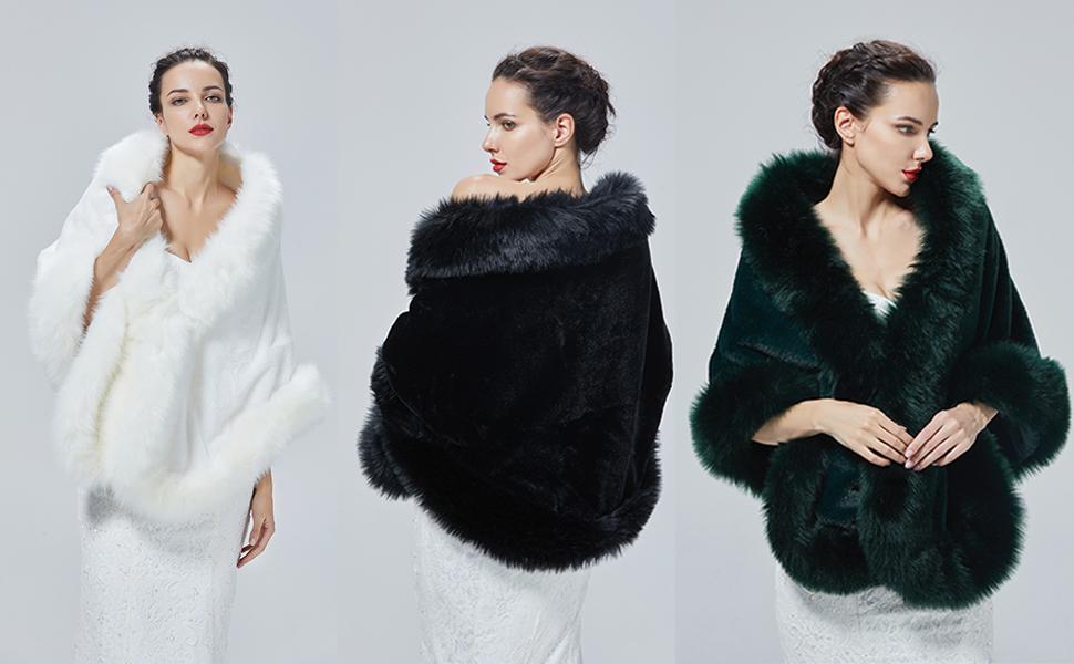 Mantón de piel sintética chal sintética  Estola de Pelo Mujer Boleros para Invierno Fiesta Novia