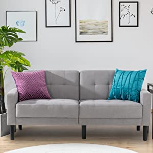 Bedroom Studio and Small Space Dorm Beige Apartment Mid-Century Upholstered Fabric 2-Seat Sofa Couch Tufted Love Seat for Living Room Office Vongarsig 63/'/' Small Modern Loveseat Couch