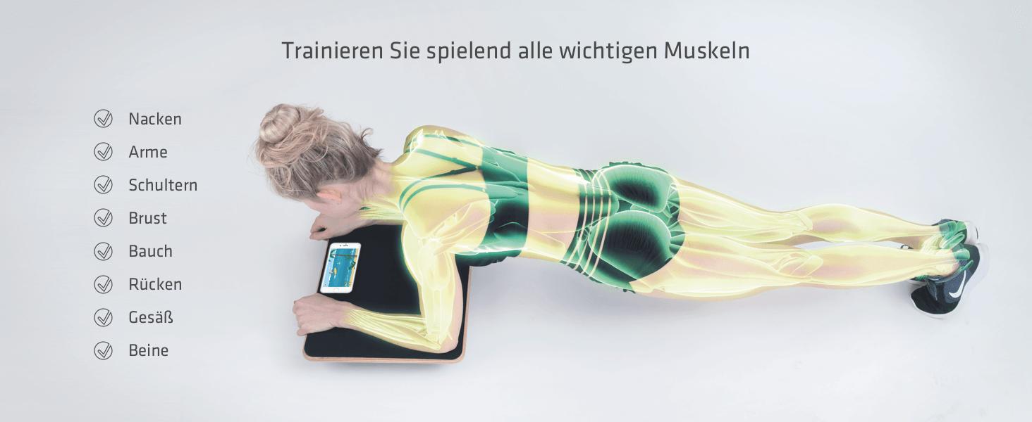 Trainiere spielend alle wichtigen Muskeln, Nacken Arme Schultern Brust Bauch Rücken Gesäß Beine