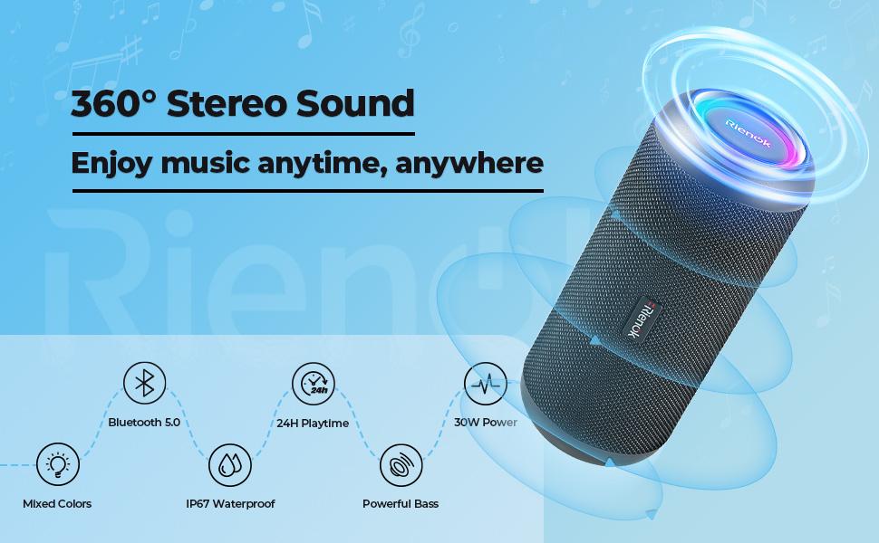 Portable Bluetooth Speaker 30W Wireless Speaker TWS Pairing HD Stereo Sound IP67 Waterproof