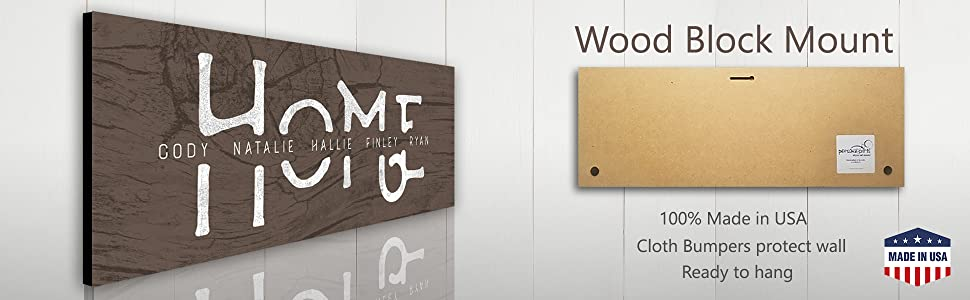 Detail of the block mount option for the home family member names sign rustic