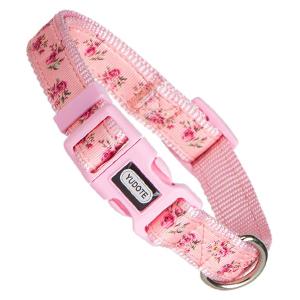 pink floral dog collar