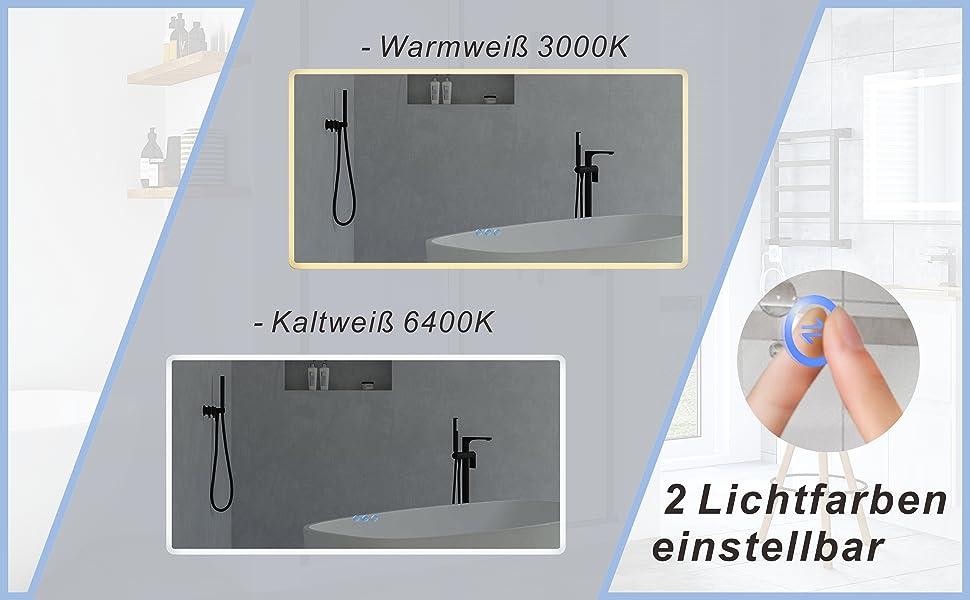LED Badspiegel mit Beleuchtung groß 140x70cm BORAS Typ C