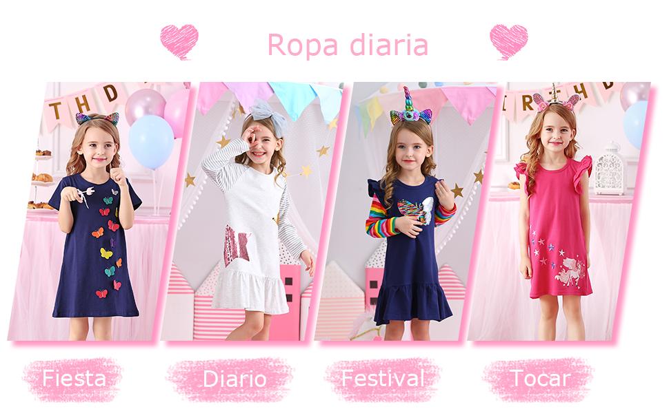 Vestido de niña de falda de algodón para niños VIKITA