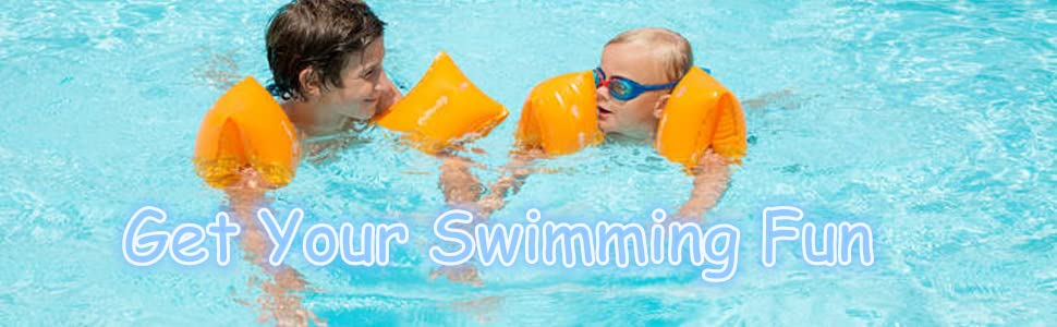 Pink Blue Orange Furry Sunny PVC Arm Floaties Inflatable Swim Arm Bands Floater Sleeves Swimming Rings Tube Armlets for Kids Toddlers and Adults 6 Pack