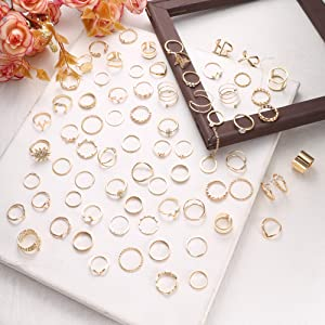 Knuckle Stackable Joint Midi Finger Ring Set