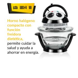 NEWCHEF Mini Horno Compact Pro 3,5L, Horno de Convección, Multifunción de Sobremesa, 800W, Halógeno, Portátil, Bajo Consumo, Compatible con Ollas Programables 6L, Freidora Dietética y Horno Tostador: Amazon.es: Hogar
