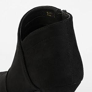 Allegra K Women's Pointed Toe Kitten Heel Cutout Ankle Boots