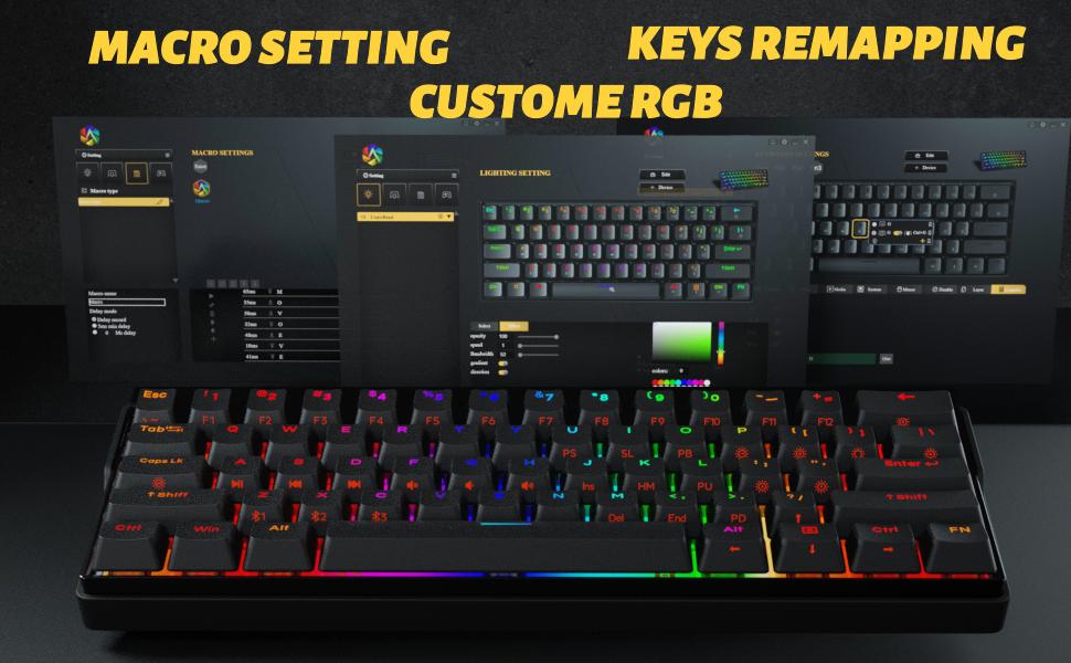 KEMOVE Shadow 60% Teclado Gaming mecánico Bluetooth 5.1 Inalámbrico/Type-C 61 Teclas Teclado de Juegos RGB Hot-Swap Teclas PBT 3000mAh Batería NKRO ...