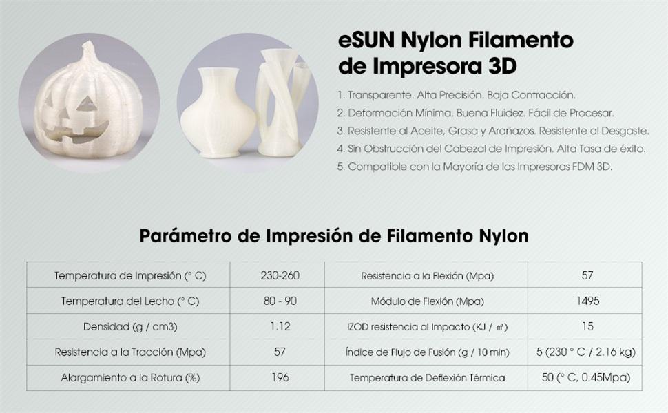 eSUN Nylon Filamento de Impresora 3D, Filamento PA 1.75mm ...