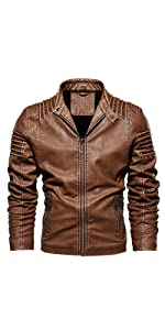 LEOCLOTHO Veste en Cuir PU Homme Col montant Zipp/é Biker Moto Blouson