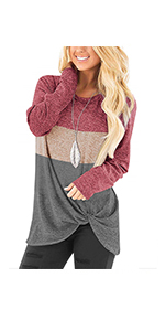 onlypuff Knot Twist Shirts for Women Casual Solid Tunic Tops Comfy Cute