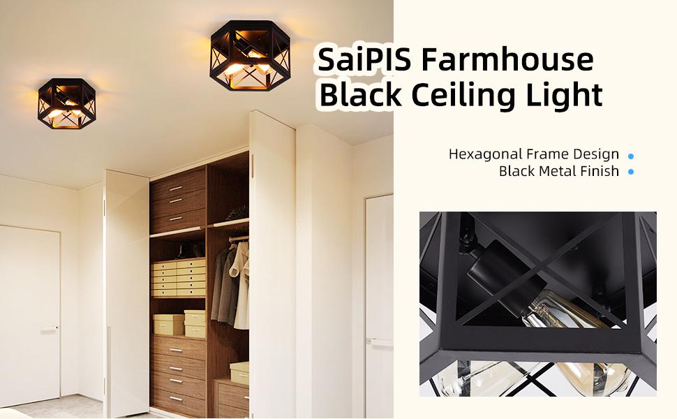 farmhouse balck ceiling light