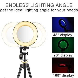 Rainbow Selfie Ring Light 14 RGB Kleuren Make-up Lichtcirkel Camera