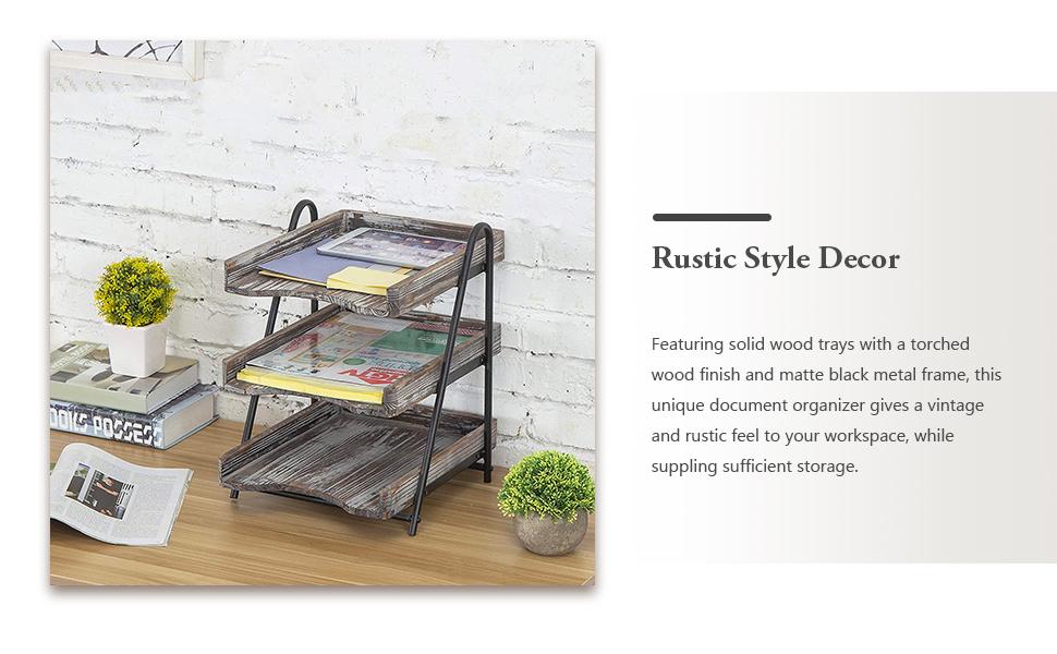 Office File Folder Rack rustic style home office decor document trays organizer rack for desktop