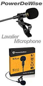 Professional Grade Lavalier Lapel Microphone Omnidirectional Mic with Easy Clip On System