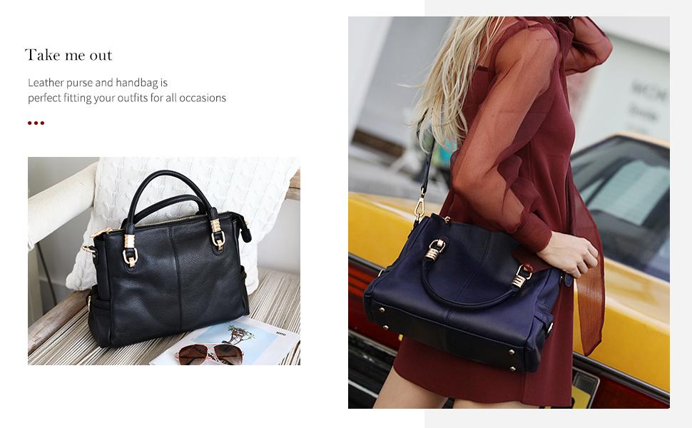 Kattee Women's Genuine Leather Shoulder Handbags