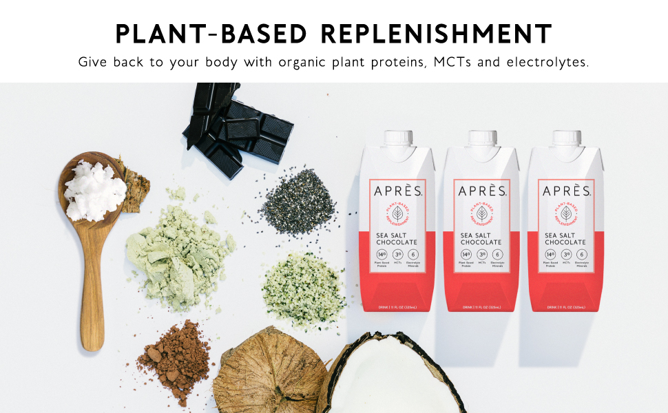 Apres chocolate protein shake with MCTs, Plant based protein, electrolytes