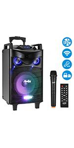 Moukey Karaoke Machine,520 Watt Peak Power Portable Wireless Connection Karaoke Speaker System