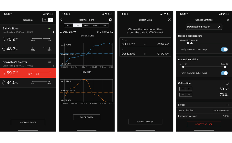 app ios android dashboard chart report export data settings alerts calibrate calibration history
