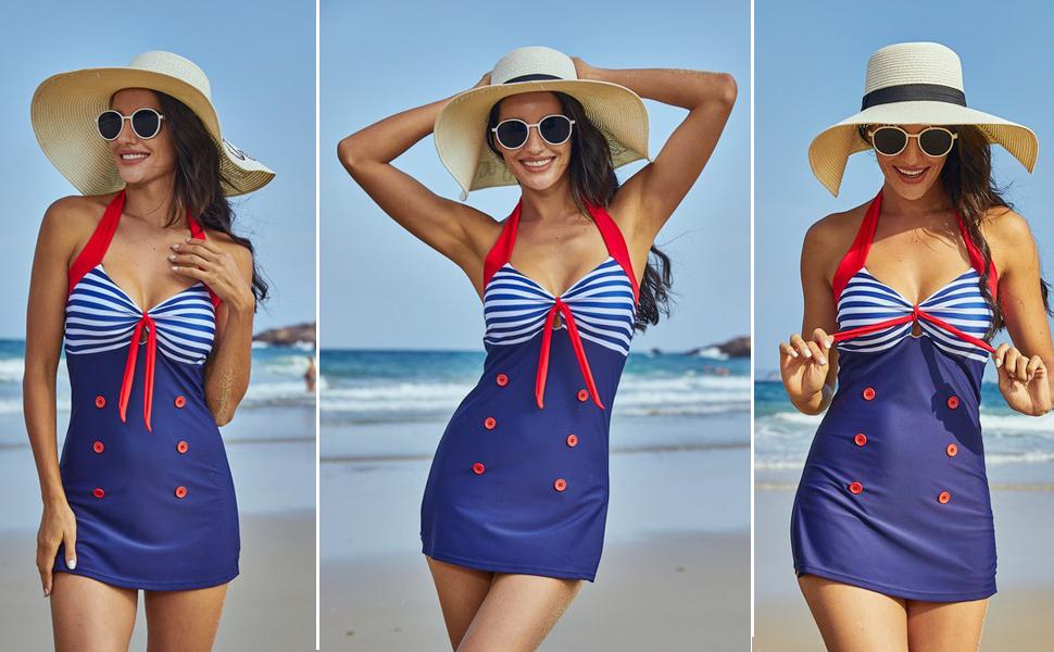 Womens Vintage Retro Striped One Piece Swimsuit Pin up Halter Monokini Bathing Suit