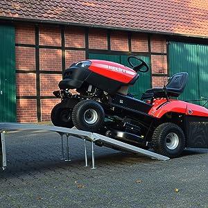 Ideale Rampe f/ür Rasenm/äher Roller und Quad Hecht Zwei Profi Aluminium Auffahrrampen mit Standf/ü/ßen und praktischen Tragegriffen Motorrad Mit Zwei Spanngurten H005005