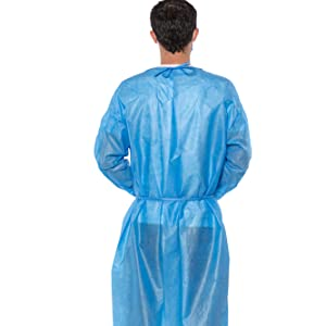 sms pp disposbale breathable astm level barrier liquid protection full cover back elastic gown