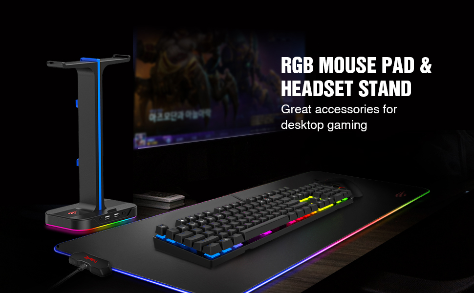 RGB Mouse Pad with Headset Holder