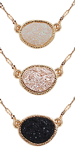Humble Chic Simulated Druzy Chain Bar Threaders - Gold-Tone Long Sparkly Needle Drop Earrings Women