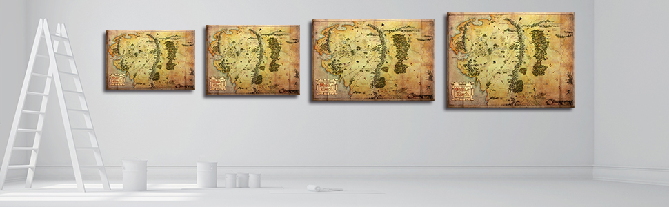 The Hobbit Map Wall Art Picture Lord of the Rings Map Canvas Painting Map of Middle Earth Posters